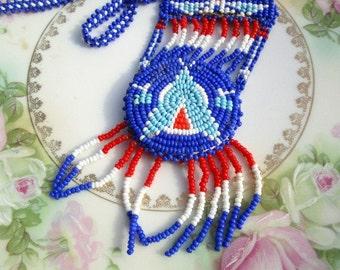 Vintage Native American Indian Seed Bead Pendant Statement Big Thunderbird Design.