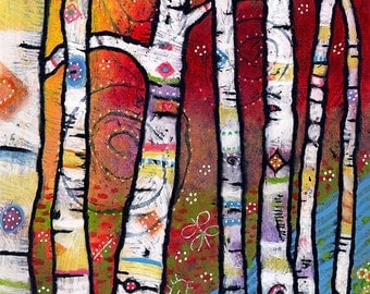 Whimsical Tree Print, Colorful Enchanted Forest Art for Child's Room