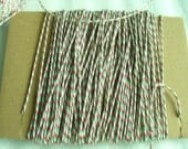 Christmas Twine,  Baker's Twine 30 m, red green white, coloured string