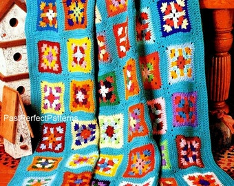 INSTANT DOWNLOAD PDF Vintage Crochet Pattern  for Granny Square Scrap Afghan Throw Blanket  Retro