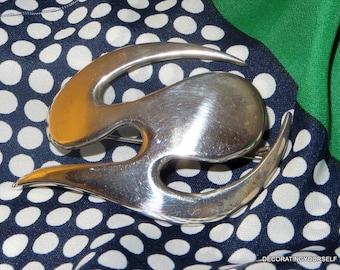 Denmark Borresen & Lassen Modernist  Sterling Silver  Brooch,Organic Biomorphic
