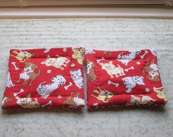 hand quilted red dogs set of 2 potholders hot pads