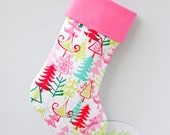 Pink Christmas Stocking Personalized Stocking Christmas Trees |  CS0005 by Forshee Designs