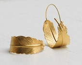Gold FEATHER Hoop EARRINGS Woodland Nature Bird Autumn
