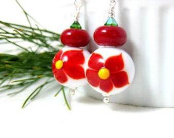 Poinsettia Earrings, Christmas Earrings, Holiday Earrings, Red White Floral Earrings, Lampwork Earrings, Christmas Jewelry - Poinsettia