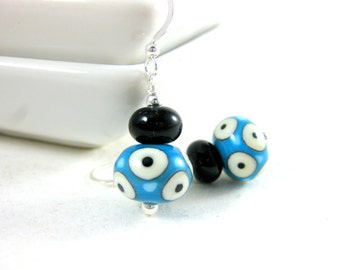 Turquoise Blue Black Geometric Earrings, Simple Earrings, Lampwork Earrings, Polka Dot Jewelry, Blue White Dangle Earrings, Everyday Jewelry