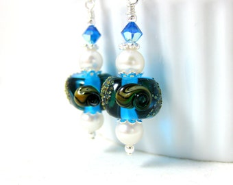 Seashell Earrings, Bright Blue Earrings, Beach Earrings, Beach jewelry, Lampwork Earrings, Ocean Earrings, Pearl Earrings - Marigot Beach