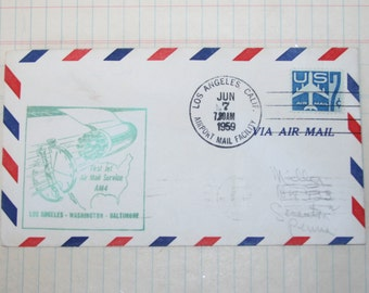 1959 First Flight U.S Airmail Los Angeles-Washington-Baltimore Vintage Envelope
