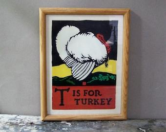 Vintage T IS FOR TURKEY Framed Print ~ Charles Buckles Falls Illustration