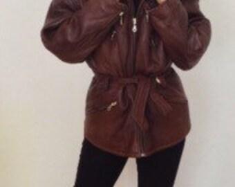 1990s French vintage brown softest lamb leather jacket coat - medium large M L