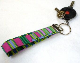 Green Stripes Fabric Wristlet Key Fob Keyring Keychain Kaffe Fassett Fabric Key Fob Fuchsia Purple Shirt Stripes MTO