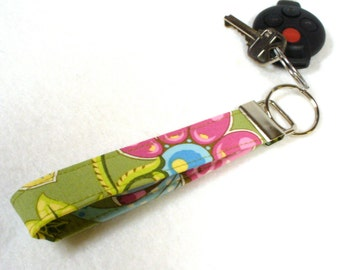 Clearance Sale Wristlet Key Fob Amy Butler Fabric Ginger Bliss Deco Bouquet Floral Fabric Key Chain Key Ring Fabric Green Pink Blue