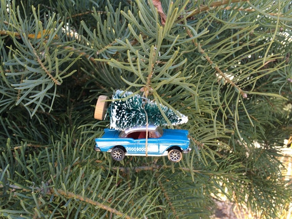 Vintage Blue Car Christmas Tree Ornament
