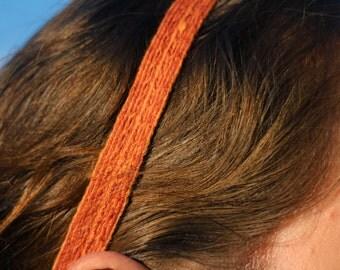 Tablet Weaving Headband - Orange Cotton and Merino