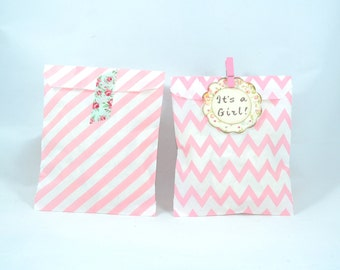 Pink Party flat favor paper bags, Goodie Bags - Chevron, Stripes - set of 12.