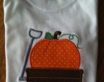 Toddler boy's or girl's long sleeve appliqued pumpkin tee