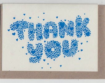 Thank You Hearts... Riso Printed Notecard