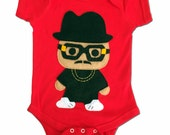 Infant Bodysuit Rad Rapper - Tall Hat - Red Hip Hop Baby Bodysuit