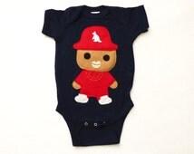 Rad Rapper - Red Kangaroo Hat - Infant Bodysuit [NAVY]