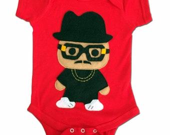 Infant Bodysuit Rad Rapper - Tall Hat - Red Hip Hop Baby Bodysuit
