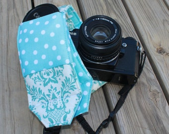 Monograming Included Wide Camera Strap for DSL camera in Turquoise and White with lens cap pocket