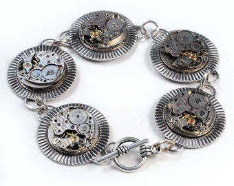 Steampunk Vintage Watch Movement Silver Bracelet