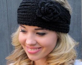 Black Head Wrap Winter Flower Headband Ear Warmer Winter HeadBand Muffler Knit Handmade headband or CHOOSE Your color