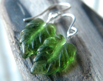 Autumn Leaves earrings - sterling silver emerald green Czech glass leaf handmade wire wrapped jewelry - Fall Fashion