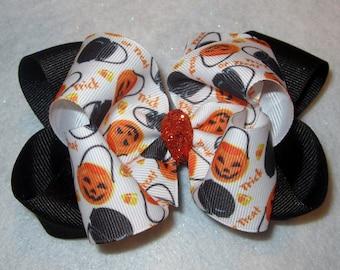 Halloween Trick or Treat Pumpkin Double Layered Jack o Lantern Hair Bow Spikey Lush Big Boutique Princess Hairbow