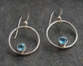 Earrings, Swiss Blue Topaz Earrings, Blue Topaz Hoop Earrings, Sterling Silver, Hoops