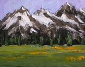 Impressionist Painting GRAND TETONS Mountain Wildflower Meadow WYOMING Landscape Lynne French Art 9x12