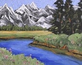 Impressionist Plein Air Landscape Painting GRAND TETON Mountains Wyoming 16x20 Lynne French