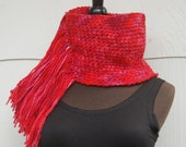 Shades of Red Handmade Crochet Fringed Cowl Neckwarmer