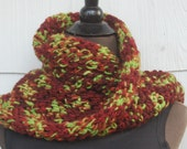 Burgundy Wine & Lime Green Handmade Crochet Mobius Cowl Neckwarmer