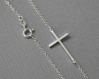 Sterling Silver Sideways Cross Necklace, Cross Necklace, Confirmation Gift, Baptism Gift Confirmation Necklace Gift for Her Baptism Necklace