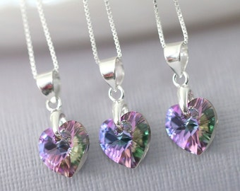 Purple Flower Girl Necklace, Purple Necklace, Swarovski Vitrail Light Heart Necklace, Sterling Silver Necklace, Flower Girl Gift Jewelry