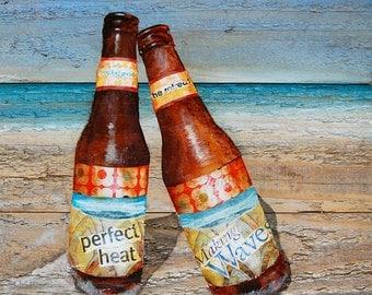 Beach ART PRINT or CANVAS, coastal coast beach beer bottles love romance couple retreat seaside summer gift valentines poster,All Sizes