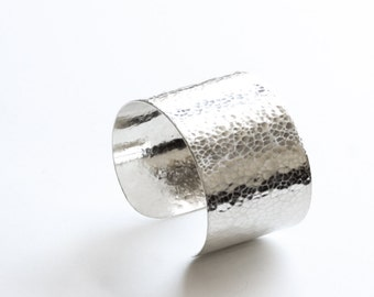 "Wide silver cuff hammered and formed by hand of thick 20 gauge metal into a large sterling silver bracelet - ""Rebecca Cuff"""