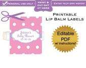 DIY editable printable lip balm labels (No.26) polka dot favors baby shower or bridal PDF Digital File