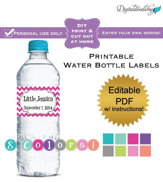 DIY Editable Printable Water Bottle Labels PDF By Digitaldoodlebug