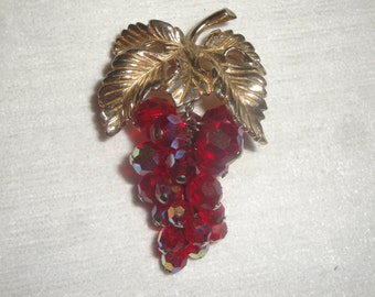 Vintage Bunch of Grapes Brooch with Cranberry Aroura Borealis Beads