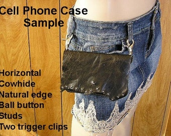 Made to Order ~ Large Cell Phone case  - Leather cell phone bag several styles and options to choose from