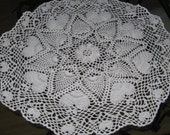 Ready to Ship 25 Inch Round White Doily with Hearts Heart Doily Crochet Crocheted Handmade Decor Lacy