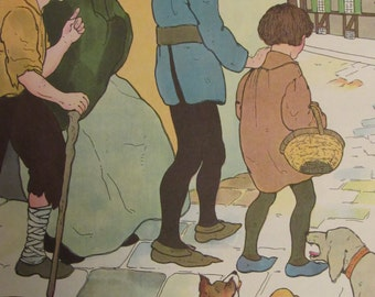1970s Children's Print-HARK! HARK! The Dogs Do Bark-Mother Goose Print-Vintage Book Page-Perfect for Framing