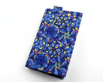 Paperback Book Cover - Blue and Yellow Cotton Fabric with Stained Glass Effect - Mass Market Size