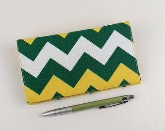 Green and Gold Chevron Checkbook Cover for Duplicate Checks with Pen Holder,  Green Bay Packers Team Colors