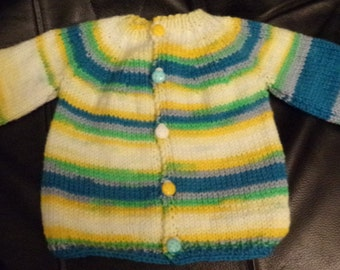 Yellow Green Blue White Cardigan Sweater Hand Knitted