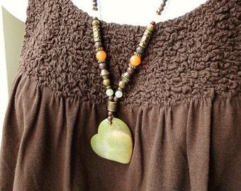 Earthy Green Orange Brown Stone Necklace 24in, Heart Pendant, Jasper, Handmade Beaded Jewelry