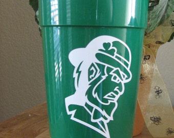 Green St. Patricks Day Plastic Insulated Tumbler with Vinyl Irishman Decal