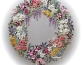 Silk Ribbon Embroidery - Garland of Silk Ribbon Flowers - Full kit